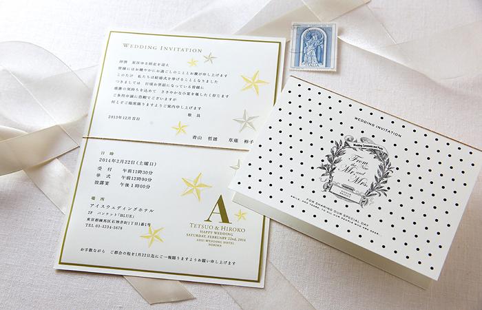 招待状手作りマイデザインセット 台紙「ドット」/中紙「星(